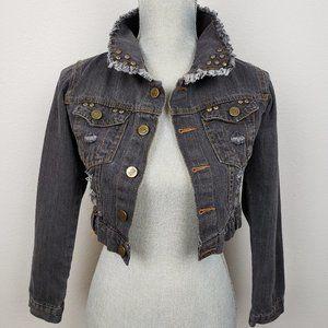 Abercrombie distressed cropped jean jacket size S